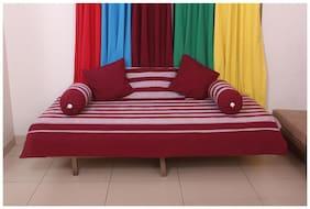 NewLadiesZone 100 % COTTON MAROON  Stripe Divan ,ONE Bedsheet 2 Bolster Cover 3 Cushion Cover 40 X 40 CM