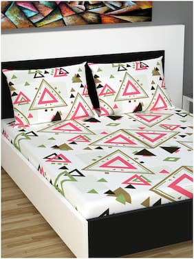 Divine Casa Cotton Geometric King Size Bedsheet 144 TC ( 1 Bedsheet With 2 Pillow Covers , Pink , Brown )