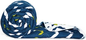 Divine Casa Polyester Abstract Single Size Comforter Blue