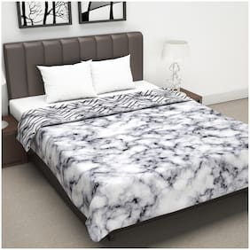 Divine Casa Microfiber Reversible 120 GSM Abstract Print Grey and Black Double Bed AC Dohar Quilt Blanket