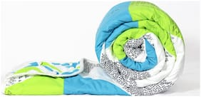 Divine Casa Polyester Abstract Single Size Comforter Green & Blue