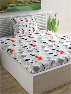 DIVINE CASA 104 TC 100% Cotton Geometric Single Bedsheet With 1 Pillow Cover Blue