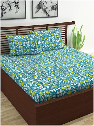 Divine Casa Cotton Geometric Double Size Bedsheet 144 TC ( 1 Bedsheet With 2 Pillow Covers , Green , Off-white )