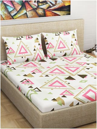 Divine Casa Cotton Geometric Double Size Bedsheet 144 TC ( 1 Bedsheet With 2 Pillow Covers , Pink , Brown )