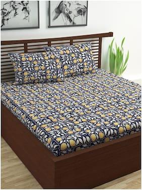 Divine Casa Cotton Floral Double Size Bedsheet 144 TC ( 1 Bedsheet With 2 Pillow Covers , Blue , Yellow )
