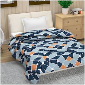 Divine Casa Microfiber 120 GSM Geometric Print Navy Blue and Orange Single Bed AC Dohar Quilt Blanket