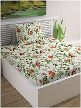 DIVINE CASA 104 TC 100% Cotton Floral Single Bedsheet With 1 Pillow Cover Green