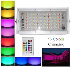 DIVYE Metal White Body Crystal 50 Watt 220-240V Waterproof Landscape IP66 LED Flood Light RGB Multi Colour with Remote-Pack of 1