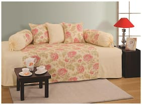 Swayam Cream and Pink Colour Floral Diwan Set with Bolster and Cushion Covers (Set of 6)