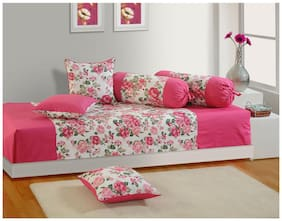 Swayam Pink and Magenta Colour Floral Diwan Set with Bolster and Cushion Covers (Set of 6)