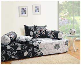 Swayam Black and White Colour Floral Diwan Set with Bolster and Cushion Covers (Set of 6)