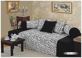 Swayam Black and White Colour Abstract Diwan Set with Bolster and Cushion Covers (Set of 6)