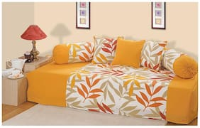 Swayam Yellow and Green Colour Leaf Pattern Diwan Set with Bolster and Cushion Covers (Set of 6)