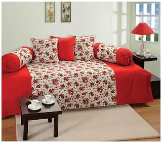 Swayam Red and White Colour Floral Diwan Set with Bolster and Cushion Covers (Set of 6)