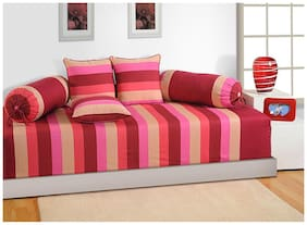 Swayam Magenta and Beige Colour Stripes Diwan Set with Bolster and Cushion Covers (Set of 6)