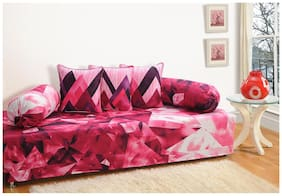 Swayam Pink and Purple Colour Geometric Diwan Set with Bolster and Cushion Covers (Set of 6)