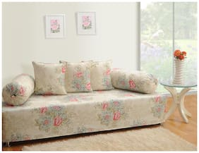 Swayam Off White and Cream Colour Floral Diwan Set with Bolster and Cushion Covers (Set of 6)