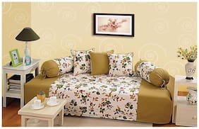 Swayam Sea Green and Off White Colour Floral Diwan Set with Bolster and Cushion Covers (Set of 6)