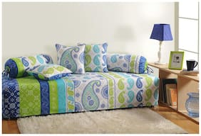 Swayam Blue and Off White Colour Motifs Diwan Set with Bolster and Cushion Covers (Set of 6)