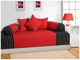 Swayam Black and Red Colour Stripes Diwan Set with Bolster and Cushion Covers (Set of 6)