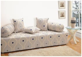 Swayam Blue and Cream Colour Geometric Diwan Set with Bolster and Cushion Covers (Set of 6)