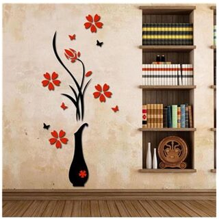Buy 3d Plum Vase Wall Home Decor Creative Wall Decals Online At Low