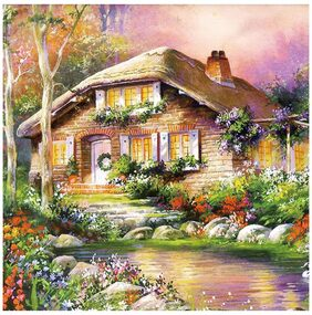 DIY Full Drill Home To Cottage Diamond Wall Stickers Painting Home Decor