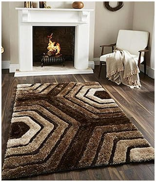 Dizen Star 5D High Quality Polyester Shaggy Carpets (SKU-CARPET-1095-5 ft x 7 ft)