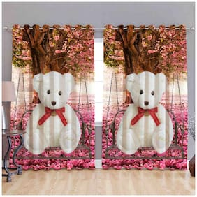 Dizen Star Digital Print Curtains for Window Eyelet Curtains Set of 2 pc, Size- 5x4 ft