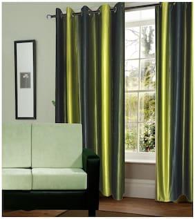 Dizen Star Long Crush Solid 2 Piece Polyester Door Curtain- 4x7 ft (Set of 2)
