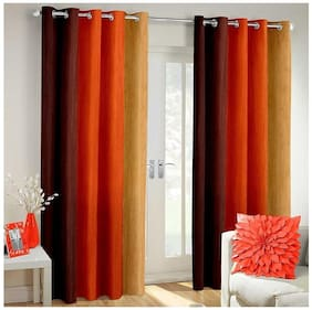 Dizen Star Long Crush Solid 2 Piece Polyester window Curtain- 4x5 ft  (Set of 2)