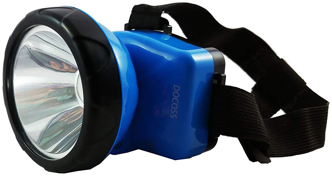 DOCOSS  Bright Rechargeable Head Torch Headlamp Headlight LED Flash Light Spotlight Rechargable for Camping Cycling Caving Hiking Hunting Trekking