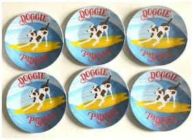 "Dogs Surfing Doggie Paddle Melamine Appetizer Side Plates 6"" Set of 6 Beach Pool"