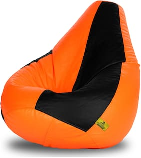 Dolphin Xxl Size Black & Orange Bean Bag-Covers(Without Beans)