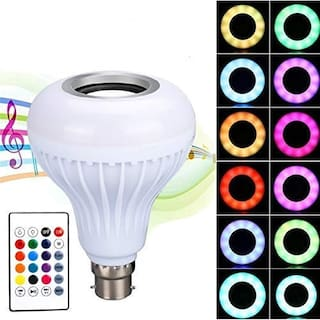 Domazo Bluetooth Music Speaker 12W Led Light Bulb With Colour Changing Remote Control For Home;Bedroom;Living Room;Party Compatible For All Device/Random Colour