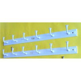 Virgo 6 Hooks Cloth Hanger with Screws (Set of 2) (White)