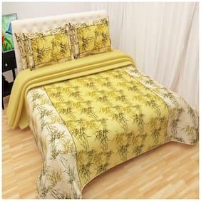 Profit blitz Cotton Floral Double Size Bedsheet 220 TC ( 1 Bedsheet With 2 Pillow Covers , Yellow )