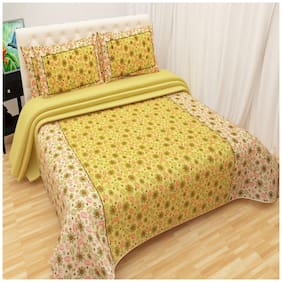 Profit blitz Cotton Floral Double Size Bedsheet 220 TC ( 1 Bedsheet With 2 Pillow Covers , Yellow )