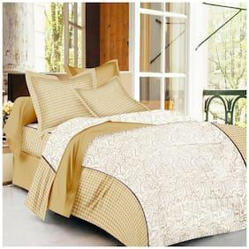 Profit blitz Cotton Floral King Size Bedsheet 220 TC ( 1 Bedsheet With 2 Pillow Covers , Golden )
