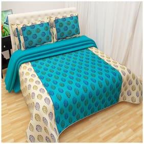 Profit blitz Cotton Floral Double Size Bedsheet 220 TC ( 1 Bedsheet With 2 Pillow Covers , Blue )