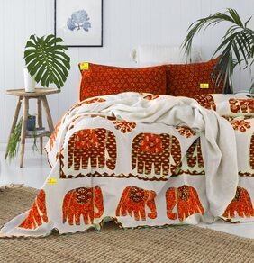 FAB NATION  PREMIUM COLLECTION DOUBLE BED BEDSHEET WITH 2 PILLOW COVERS - PURE COTTON 100% EXPORT QUALITY