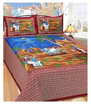 Laying Style Cotton Rajasthani Jaipuri Print King Size Bedsheet ( 1 Bedsheet With 2 Pillow Covers , Multi )