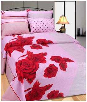 Laying Style Cotton Floral Double Size Bedsheet ( 1 Bedsheet With 2 Pillow Covers , Pink )