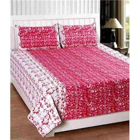 Laying Style Cotton Printed Double Size Bedsheet ( 1 Bedsheet With 2 Pillow Covers , Multi )