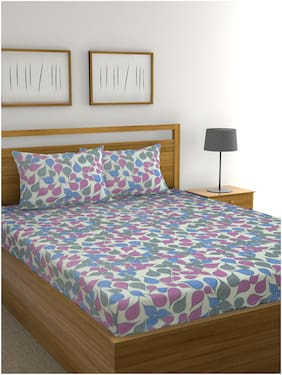 Raymond Home Cotton Abstract Double Size Bedsheet 104 TC ( 1 Bedsheet With 2 Pillow Covers , Multi )