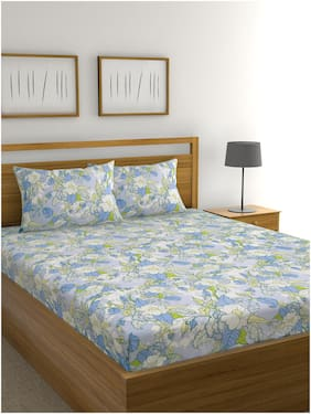 Raymond Home Cotton Floral Double Size Bedsheet 104 TC ( 1 Bedsheet With 2 Pillow Covers , Multi )