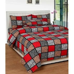 Reliable Trends Cotton Abstract Double Size Bedsheet 104 TC ( 1 Bedsheet With 2 Pillow Covers , Multi )