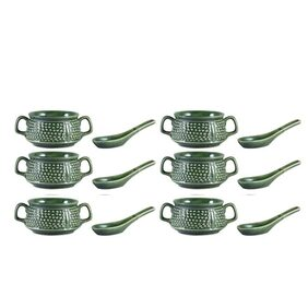 Double Handled Soup Bowl with Spoon Ceramic/Stoneware in Green Bubble Handmade By Caffeine-Set of 6