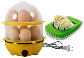 Double Layer Egg Boiler Off 14 Egg Poacher for Steaming, Cooking, Boiling and Frying, With Egg Cutter/Slicer