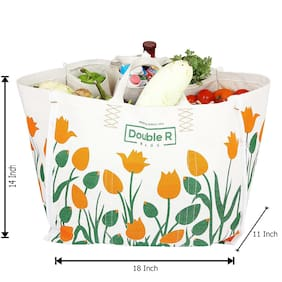 Double R Heavy Duty Waterproof Canvas /Grocery Bag/Vegetable Bag/jhola / Carry Bag/thaila with Full Handles (18*11*14.5) (large)
